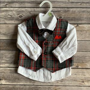 Baby Boy Button Down w/ Vest and Bow Tie size 3M